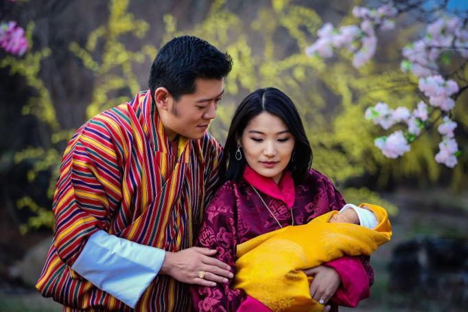 King Jigme Khesar Namgyel Wangchuck and Queen Jetsun Pema with HRH Prince Gyalsey King Jigme Khesar Namgyel Wangchuck and Queen Jetsun Pema with HRH Prince Gyalsey at the Lingkana palace, Bhutan - 22 Feb 2016