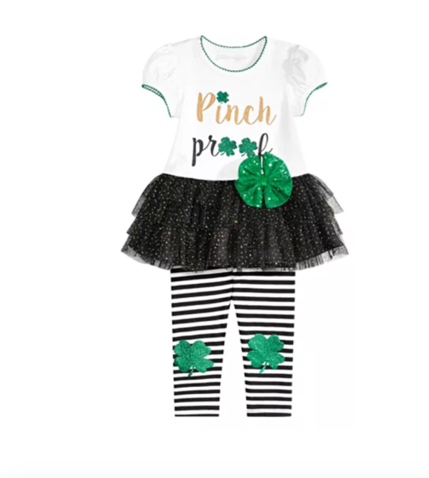 St. Patrick's Day Kids Outfits for Your Little Leprechaun: Bonnie Baby Shamrock Tutu Tunic & Striped Leggings
