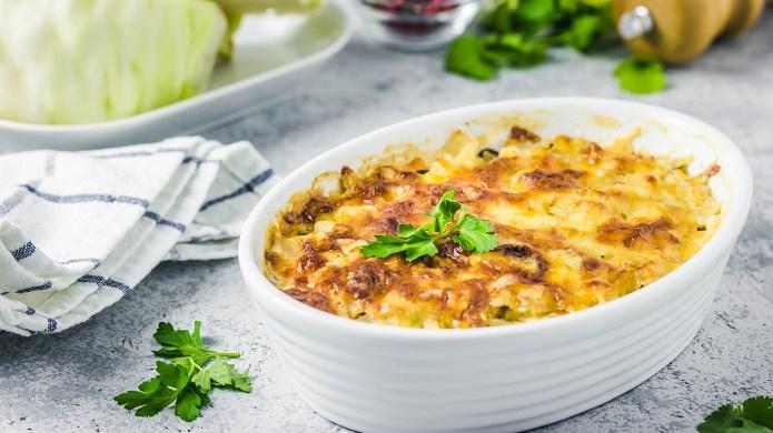 Cheesy suffed cabbage and mushroom casserole.