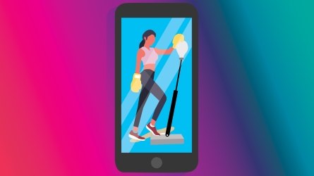 An illustration of a fitness app