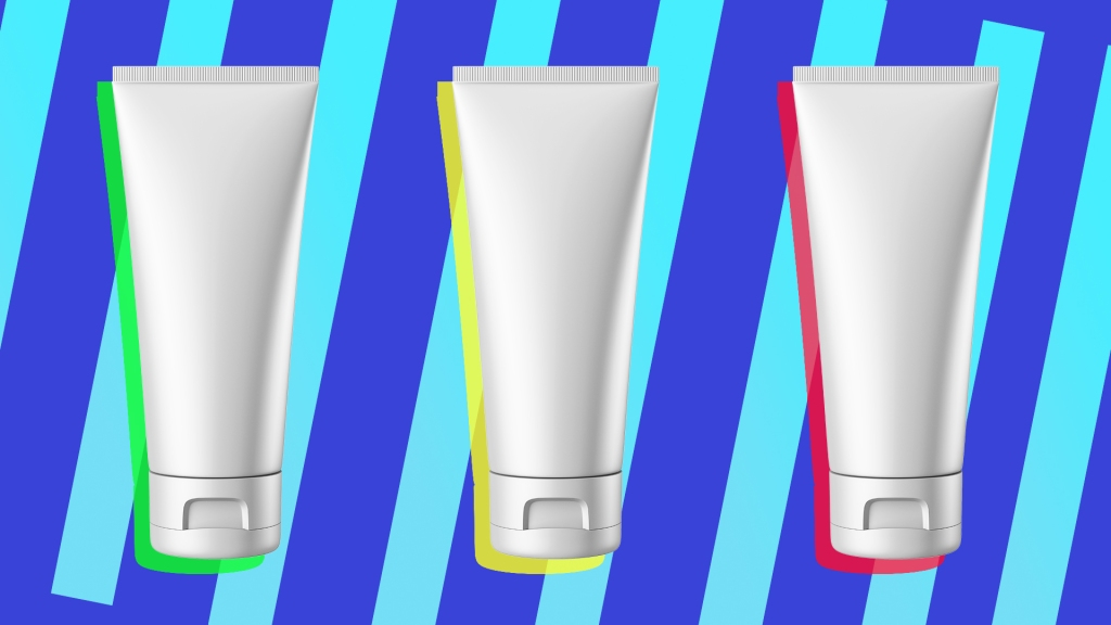 Illustration of three beauty products against