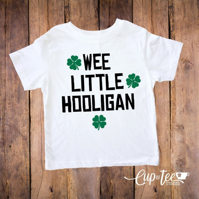 St. Patrick's Day Kids Outfits for Your Little Leprechaun: Cup of Tee Studios Wee Little Hooligan Top
