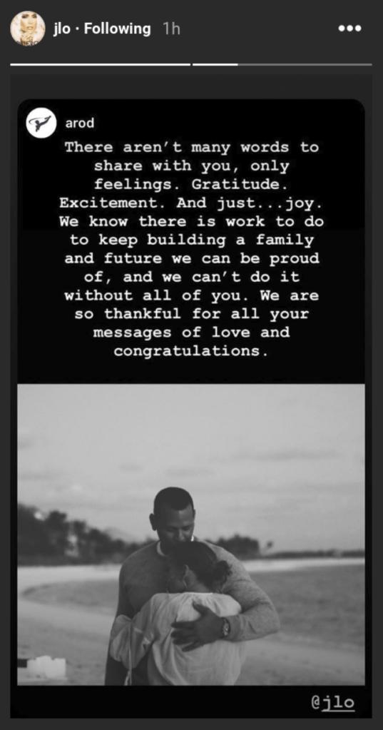 Jennifer Lopez Instagram Story.
