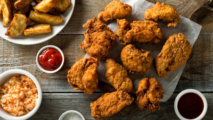 Delicious homemade crispy fried chicken with