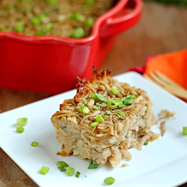Caramelized Onion & Sriracha Potato Kugel Casserole