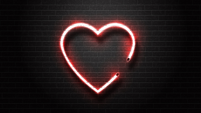 A neon heart