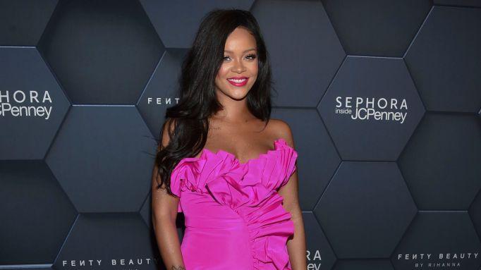 Rihanna arrives at the Fenty Beauty by Rihanna one year anniversary party