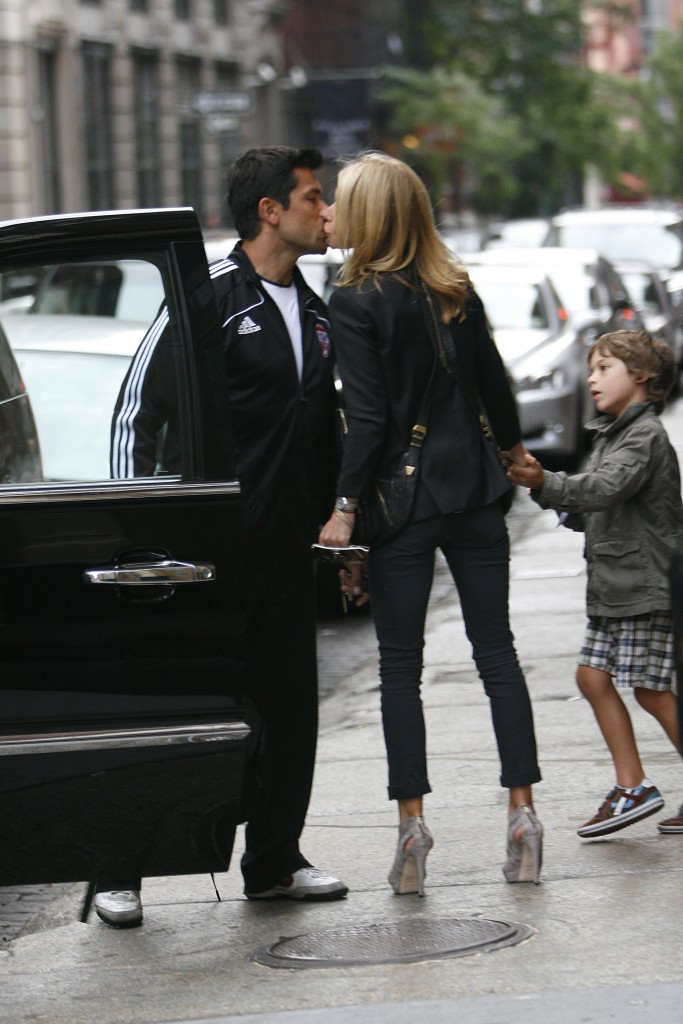 Kelly Ripa, Mark Consuelos and their son MichaelKelly Ripa and family out and about, New York, America - 23 May 2010