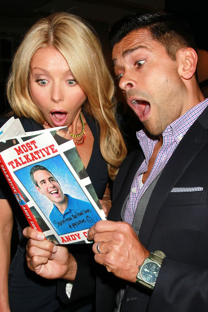 """Kelly Ripa and Mark ConsuelosAndy Cohen's 'Most Talkative Stories From The Front Lines of Pop Culture' book launch party, New York, America - 05 May 2012Anderson Coopers Firehouse Saturday night to launch Bravo exec and talk show host Andy Cohens book """" Most Talkative Stories From The Front Lines of Pop Culture """" out Tuesday from Henery Holt & Co."""