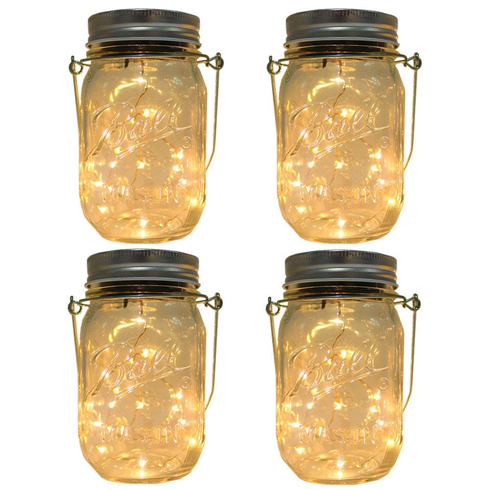 Amazon Summer Party Decor: 4-Pack Solar-powered Mason Jar Lights