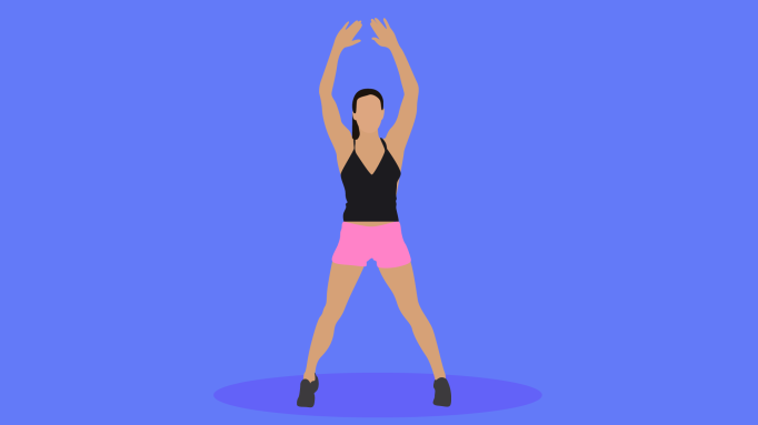 Illustration of a woman doing HIIT.