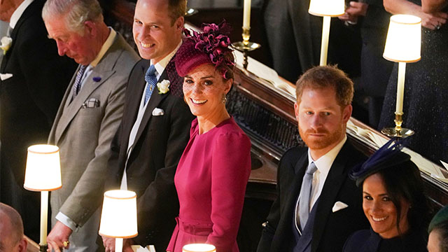 meghan markle, prince harry, kate middleton, and prince william at princess eugenie's wedding.