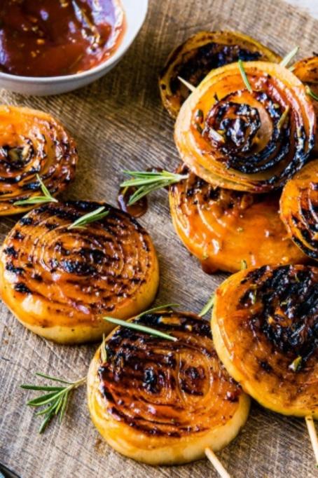 BBQ Onion Steaks with Honey Mustard Glaze.