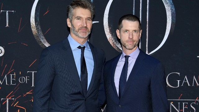 "D. B. Weiss, David Benioff. Creator/executive producers David Benioff, left, and D. B. Weiss attend HBO's ""Game of Thrones"" final season premiere"