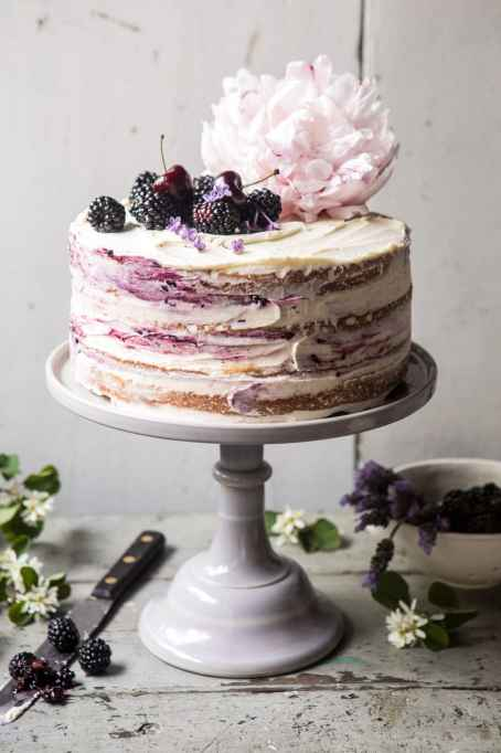 Blackberry-Lavender Naked Cake With White Chocolate Buttercream