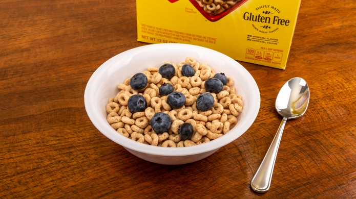 A Bowl of Cheerios with Blueberries