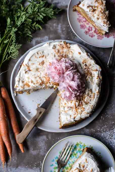 Cheesecake-Stuffed Carrot Cake With Coconut Cream Topping