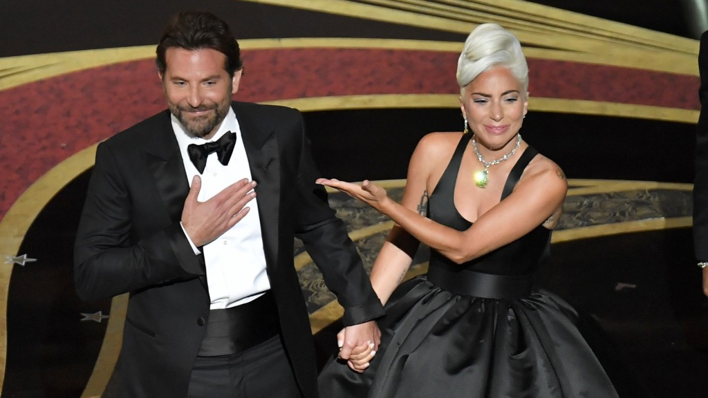 "Bradley Cooper and Lady Gaga at the 2019 Oscars performing ""Shallow"""