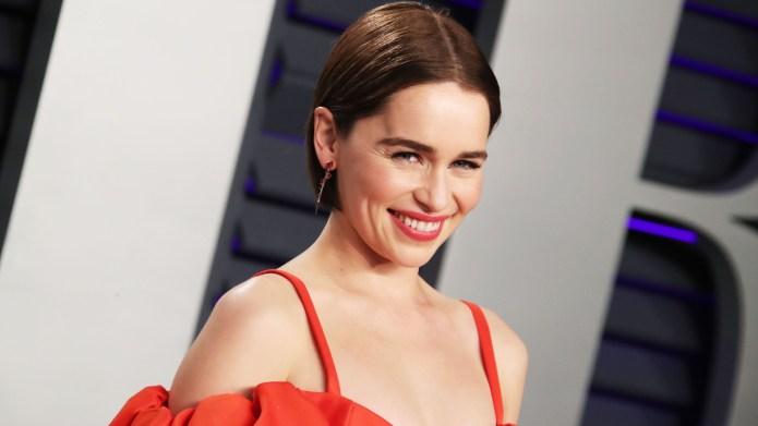 Emilia Clarke in red dress at