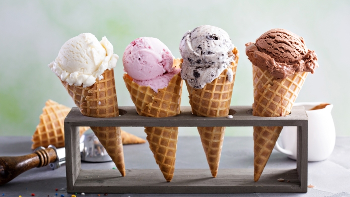 Variety of ice cream scoops in