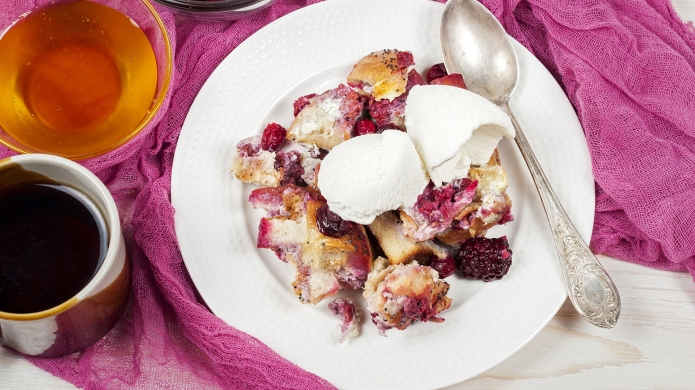 French toast casserole with cranberries, raspberries