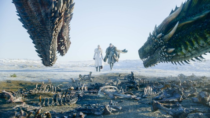Jon Snow and Daenerys with dragons