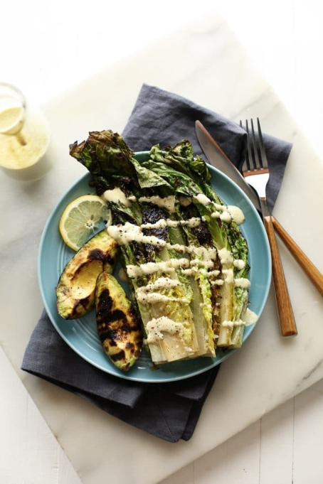 Grilled Avocado and Romaine Caesar Salad.