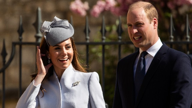 Catherine Duchess of Cambridge, Prince William at Easter Sunday service, St George's Chapel