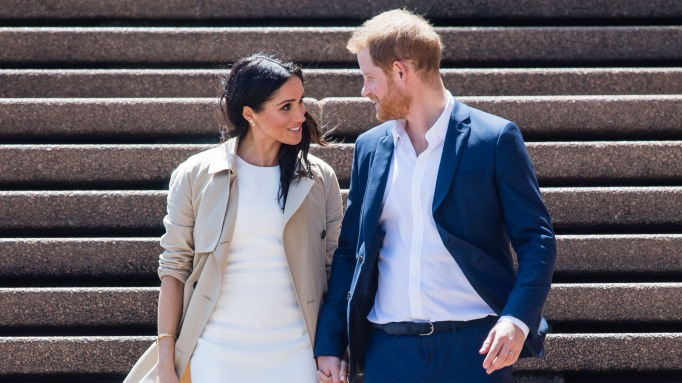 Meghan Duchess of Sussex and Prince Harry in Sydney on steps