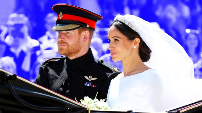 treated photo of meghan markle and prince harry at the wedding