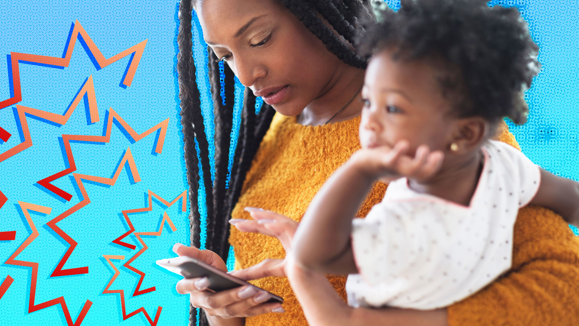 Black mother and child looking at phone