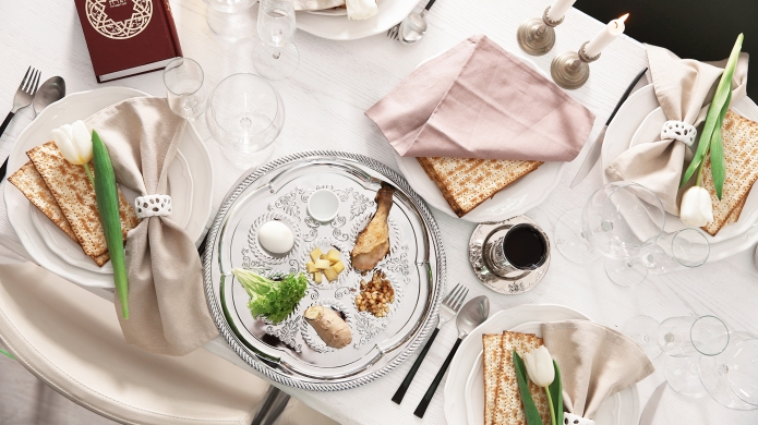 Festive Passover table setting with Torah,