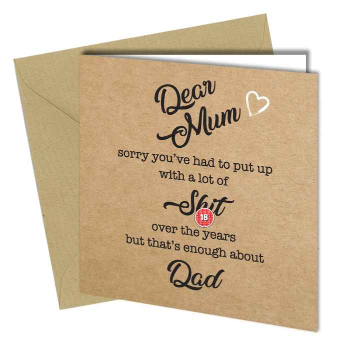 Throwing Dad under the bus Mother's Day card