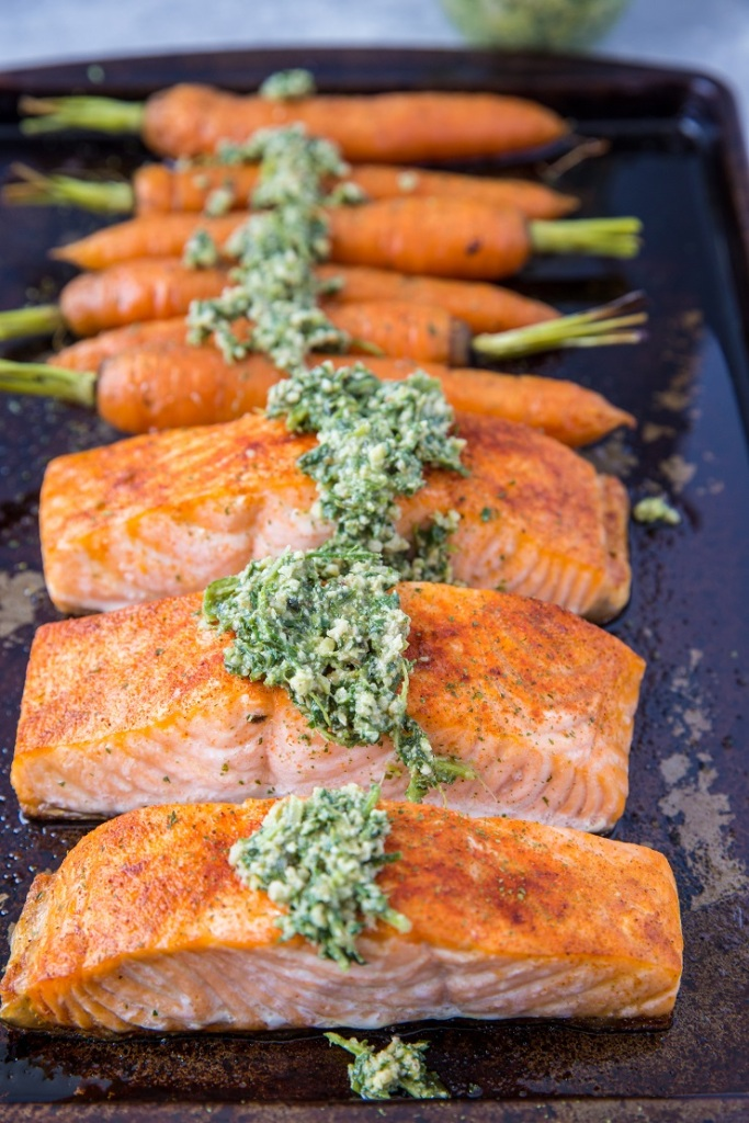 Paleo Recipes: Sheet Pan Salmon and Carrots with Carrot Top Pesto