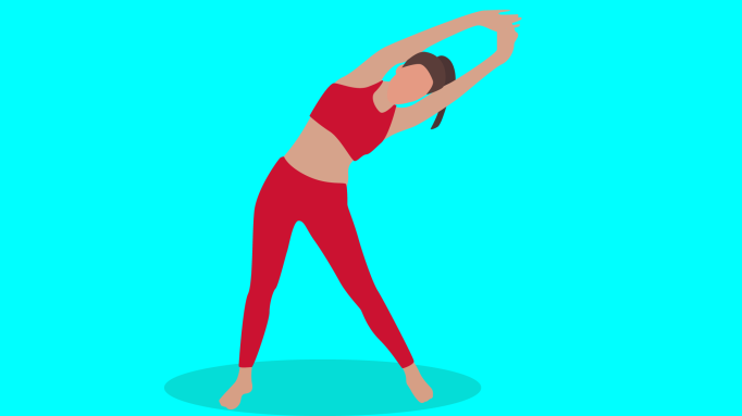 Illustration of a woman stretching