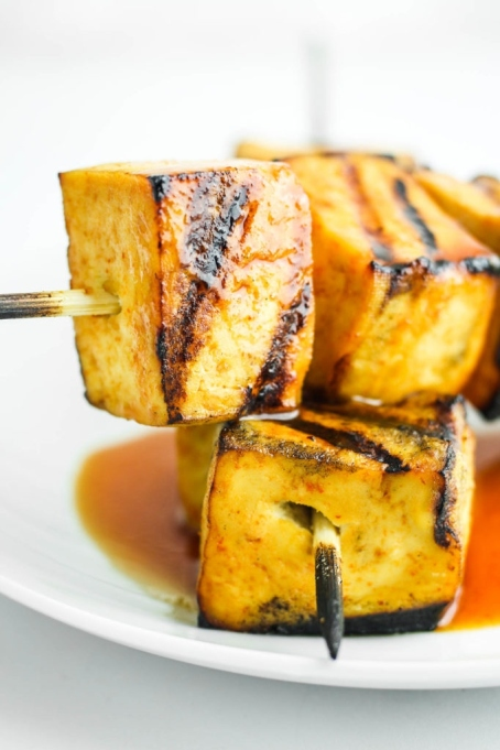 Sweet and Spicy Grilled Tofu.