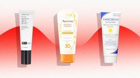 Three sunscreens on a red background