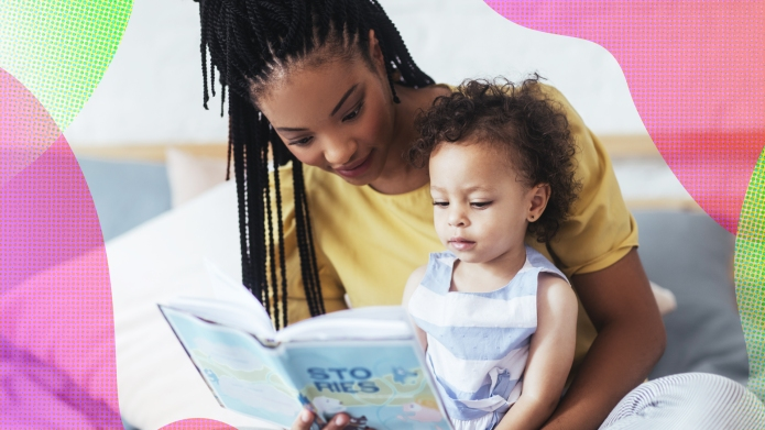 Black Mom reading to toddler