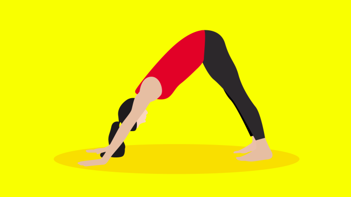 Illustration of a woman doing yoga.