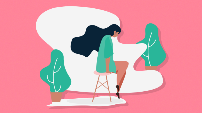 Illustration of a woman sitting alone