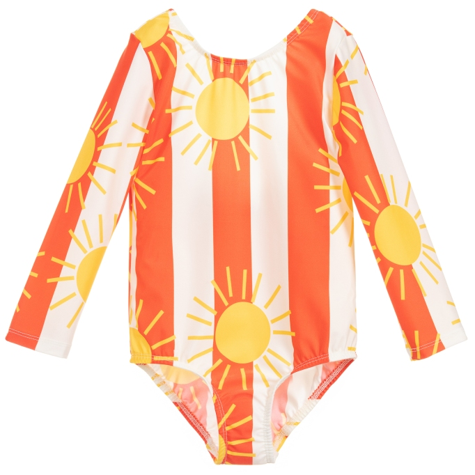 Long-Sleeve Sun Print Recycled Swimsuit from Childrensalon