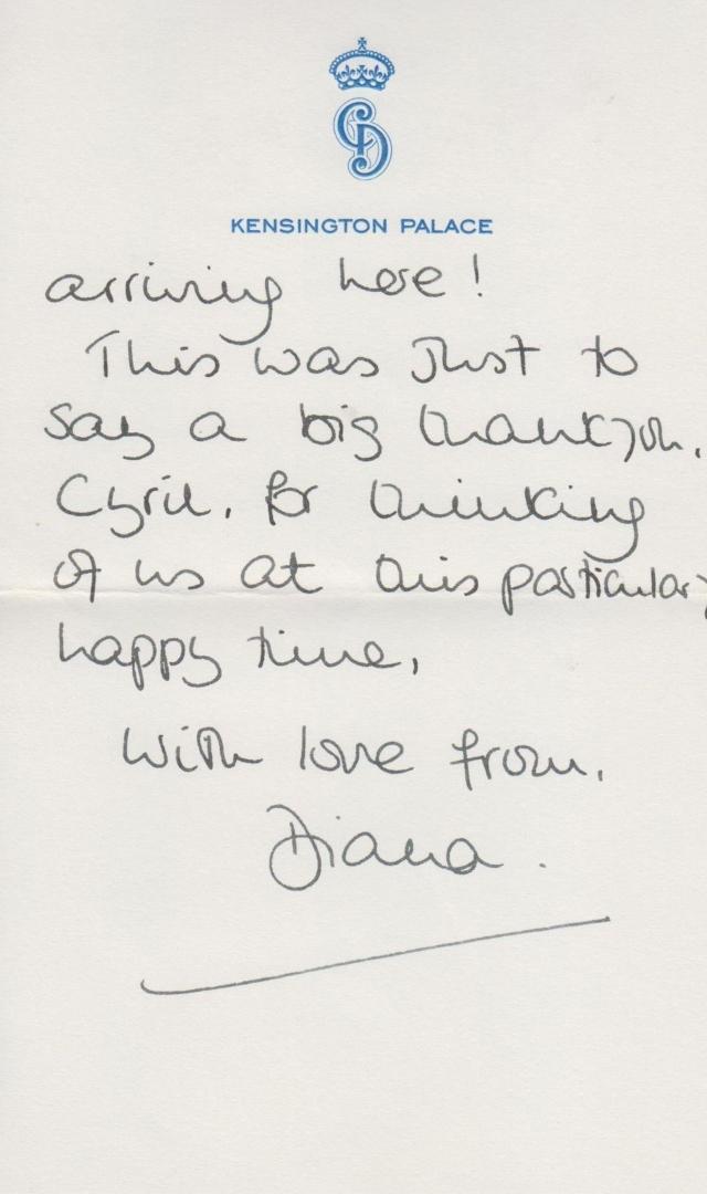princess diana handwriting
