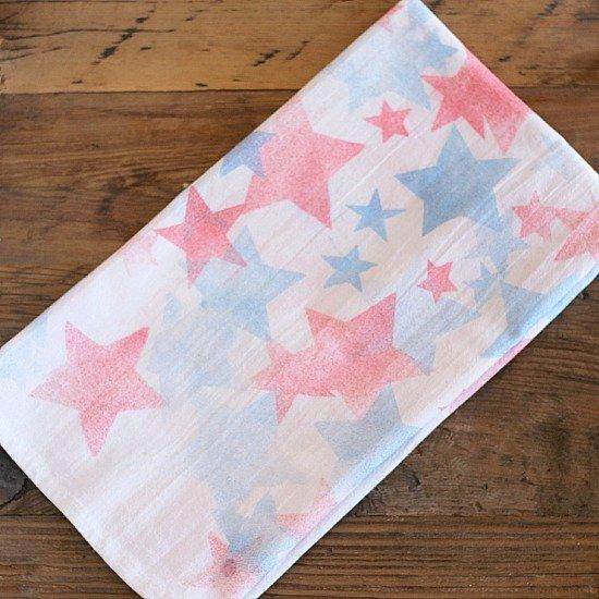 Patriotic tea towel memorial day craft for kids