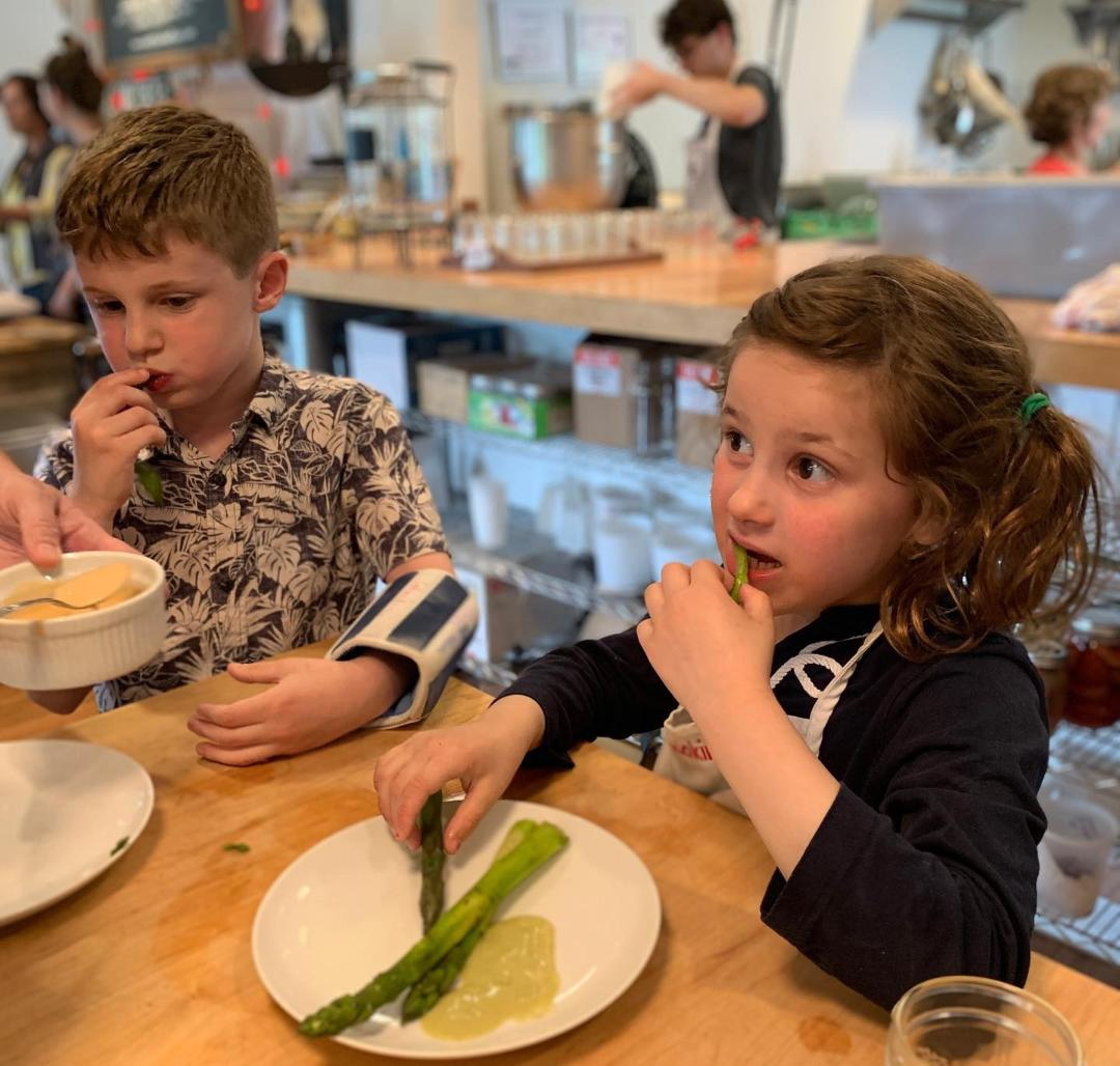 Kids Learning to Cook Veggies
