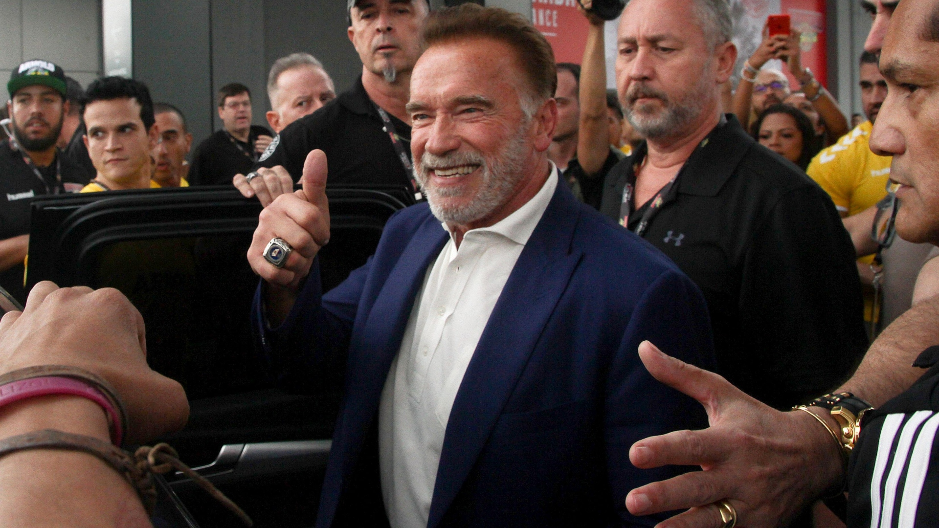 Image result for Images of Arnold Schwarzenegger in Johannesburg South Africa to attend and promote the annual Arnold Classic Africa