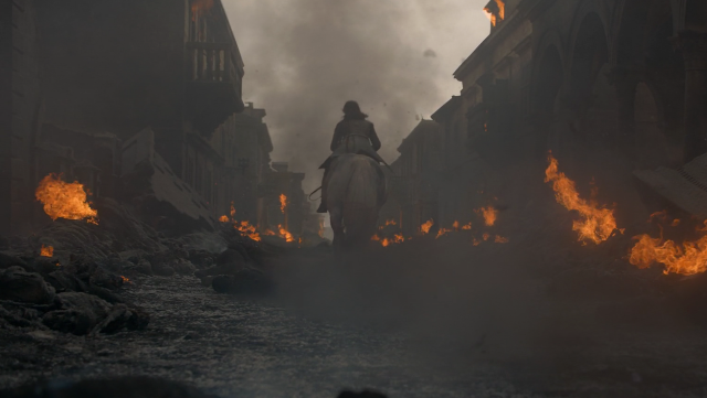 Arya riding white horse out of King's Landing