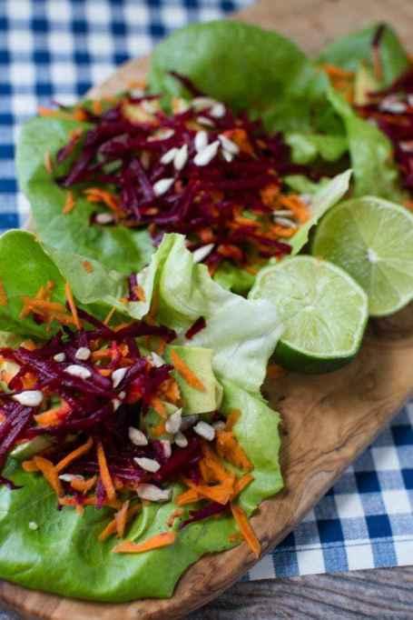 Avocado, Beet & Carrot Salad Wraps