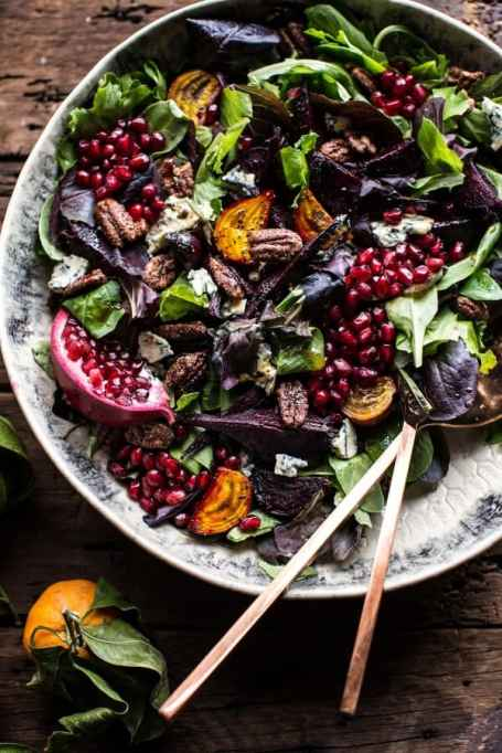 Beet & Pomegranate Salad With Maple Candied Pecans & Balsamic-Citrus Dressing
