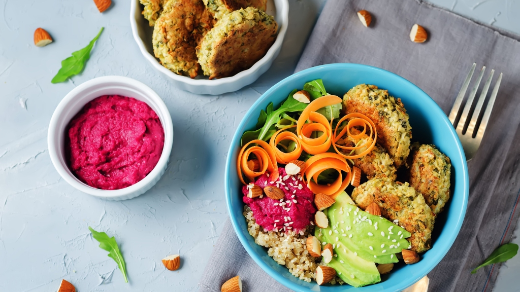 Quinoa Beet Hummus Falafel Bowl on