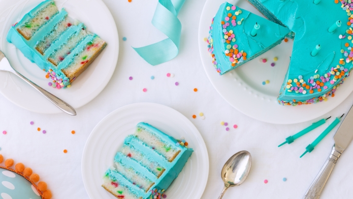 Birthday cake with colorful frosting and